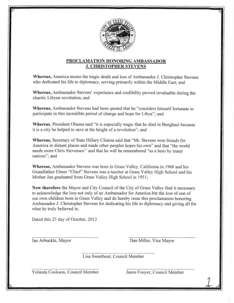 Grass Valley Proclamation Honoring Ambassador Stevens (with an important historical omission)