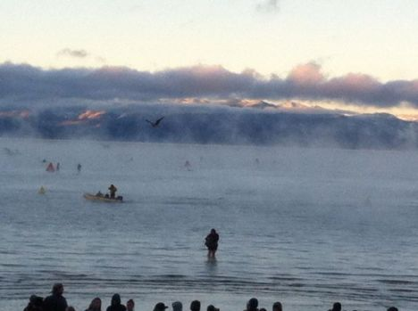 """A """"dip"""" in Lake Tahoe to kick off Ironman competition this morning"""