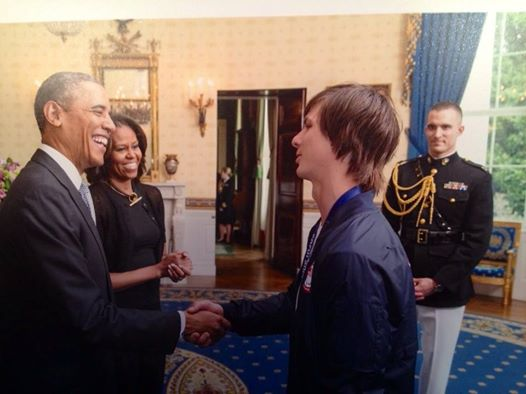 Our local hero Evan Strong in photo with President Obama