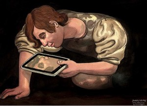 Narcissus gazes at himself in an iPad