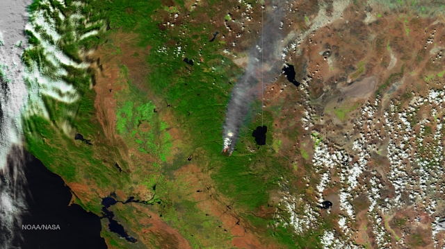 View of King Fire from a satellite