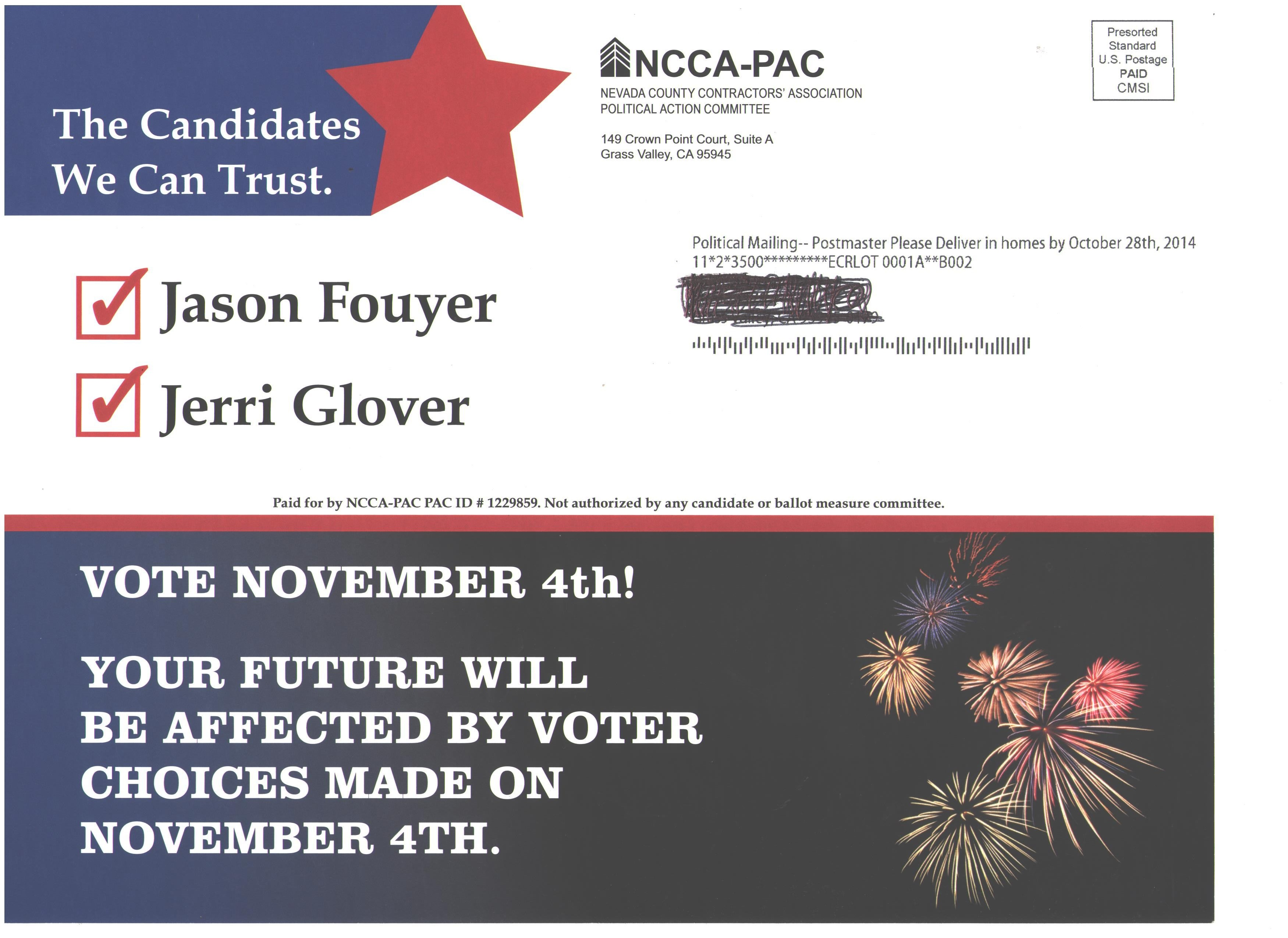 """NCCA-PAC mails a """"candidate report card"""" to GV residents 