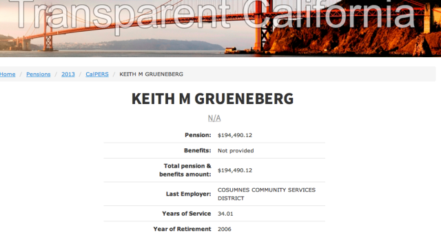 """A """"Keith M. Grueneberg"""" has a total annual public pension of $194K , according to Transparent California"""