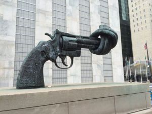 "A visit to the United Nations: The ""knotted gun"" vs. our gun culture"