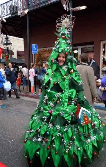 A walking Christmas tree in Nevada City that rivals Stanford's