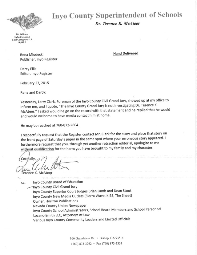 """McAteer letter quotes Inyo County Grand Jury Foreman: """"The Inyo County Grand Jury is not investigating Dr. Terence K. McAteer"""""""