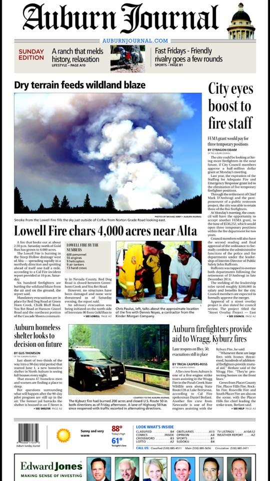 Auburn Journal gets it wrong on Lowell Fire on Page 1