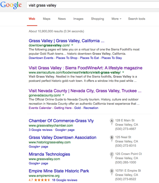 "Our magazine's website ranks No. 2 in a ""visit Grass Valley"" search"