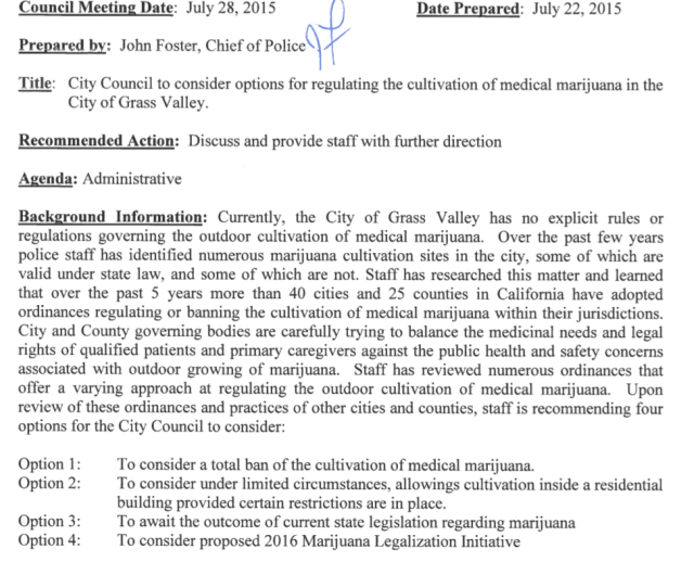 GV Council to discuss whether to regulate medical marijuana cultivation