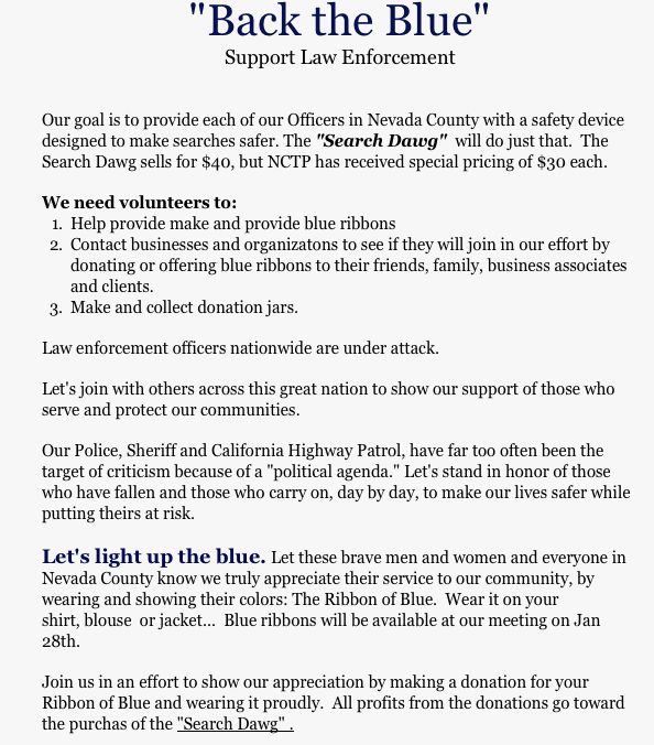 "Nevada County Tea Party's ""Back the Blue"" campaign includes donating search tools to our police"