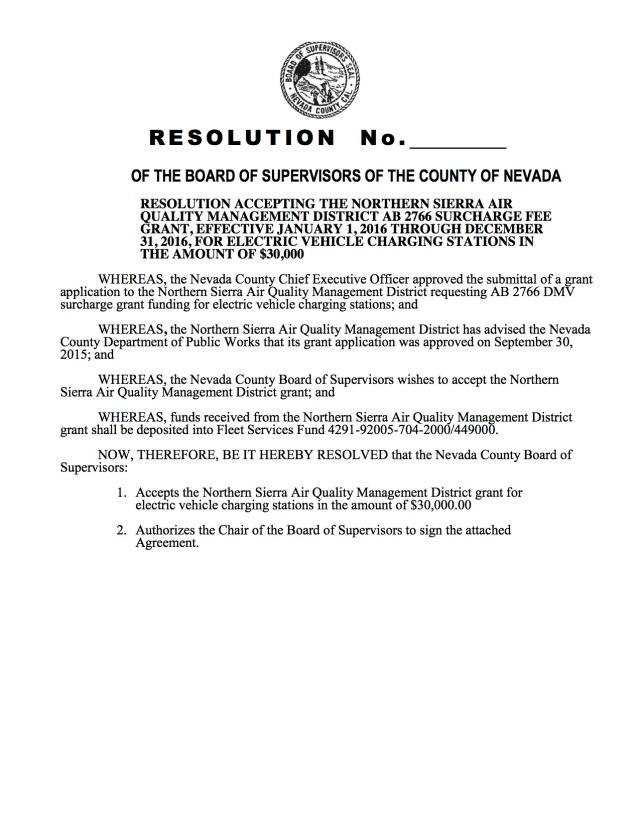 Resolution - AB 2766 Elec Veh Charging Stations