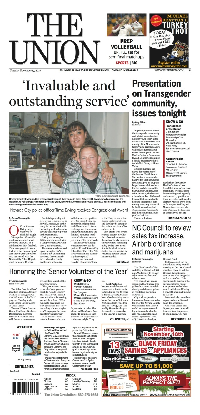 """The Union writes about Nevada City police officer """"Time"""" Ewing on its front page"""