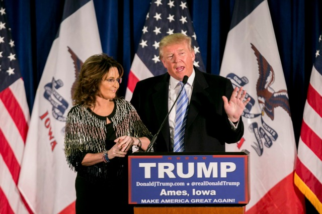Republican presidential hopeful Donald Trump and former Alaska Gov. Sarah Palin during a campaign event for Trump at the Hansen Agriculture Student Learning Center in Ames, Iowa, Jan. 19, 2016. Palin endorsed Trump for president on Tuesday, providing him with a potentially significant boost just 13 days before the state's caucuses. (Sam Hodgson/The New York Times)