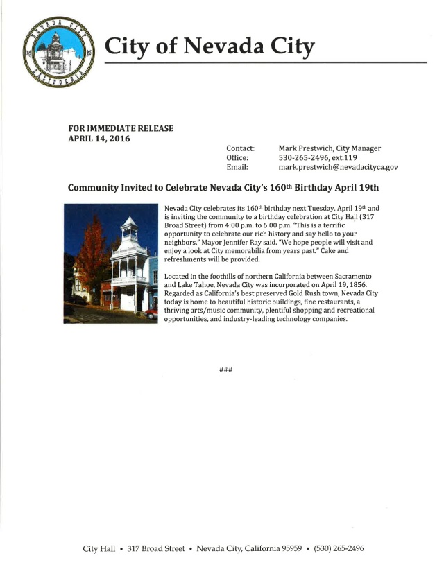 Nevada City Press Release 04142016
