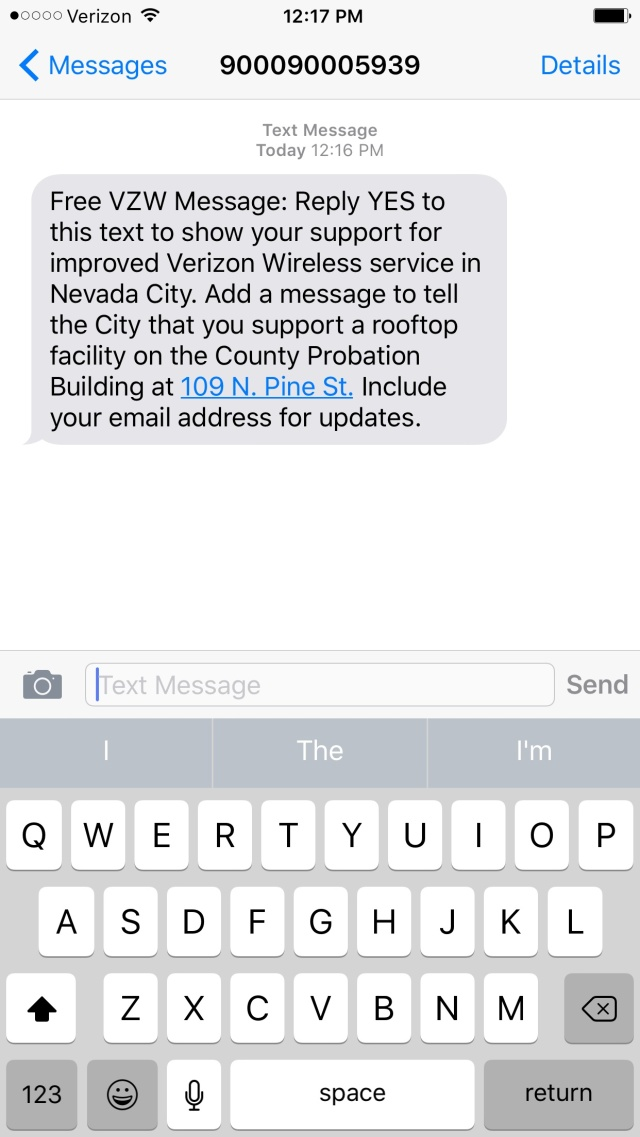 Verizon texts its customers to support new downtown NC cell antennas