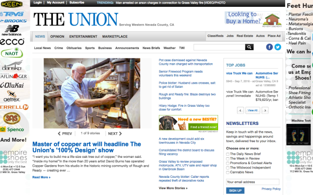 The Union promotes its own for-profit event on the front of its website