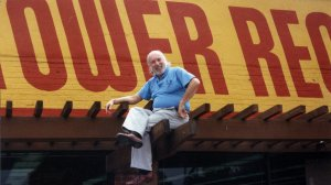 On top of the world: Tower Records founder Russ Solomon above his Sacramento, Calif., store in 1989. (Courtesy of All Things Must Pass)