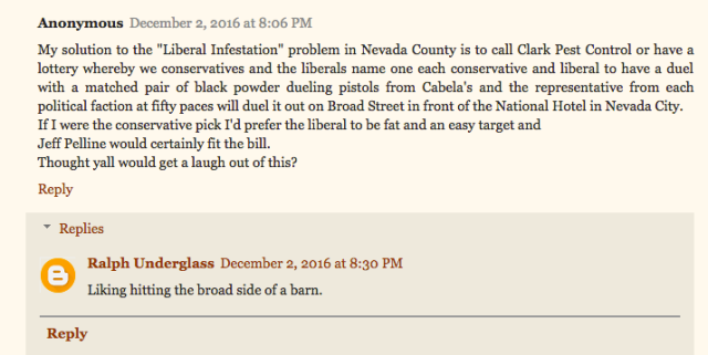 "Commenters on former County Supe Juvinall's blog now incite gun violence against ""liberals"""